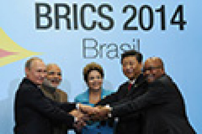 BRICS summit participants: President of Russia Vladmir Putin, Prime Minister of India Narendra Modi, President of Brazil Dilma Rousseff, President of China Xi Jinping, President of South Africa Jacob Zuma.